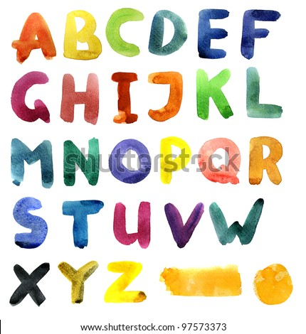 Watercolor alphabet - stock photo