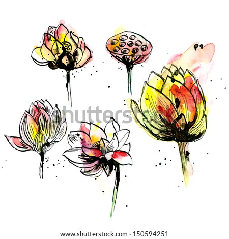 Watercolor and ink lotus hand-drawn set - stock photo