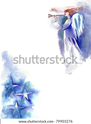 Watercolor -Angel- - stock photo