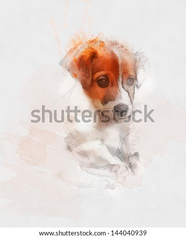 Watercolor Animal Collection: Dog - stock photo