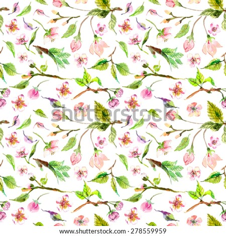 Watercolor apple flowers seamless pattern, beautiful background for design - stock photo