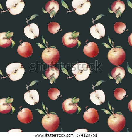 Watercolor apple seamless pattern. Hand drawn texture with whole and ripe apples with green leaves on dark background. Artistic botanical wallpaper with fruit illustrations - stock photo