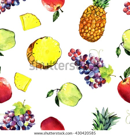 watercolor apples, grape, pineapple seamless pattern, hand painted illustration isolated on white background