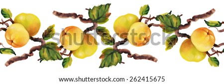 Watercolor apples painting on tree seamless pattern on white background - stock photo
