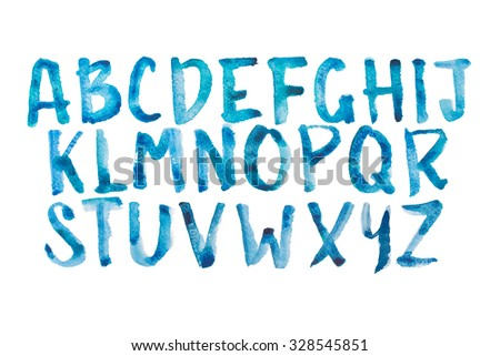 Watercolor aquarelle font type handwritten hand drawn doodle abc alphabet uppercase letters - stock photo