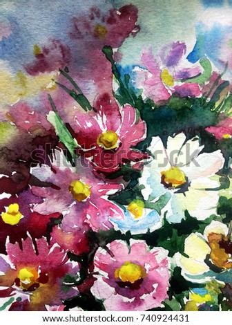 watercolor art background flowers  wild bouquet  white pink violet purple yellow wet wash textured blurred colorful vivid nature decoration design painting handmade  fantasy beautiful romantic