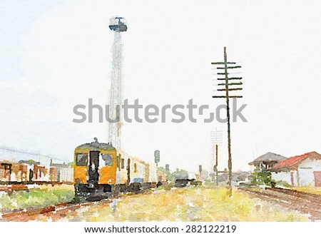 Watercolor art painted of old train on railway  - stock photo