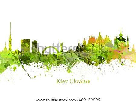 Watercolor art print of the Skyline of  Kiev Ukraine