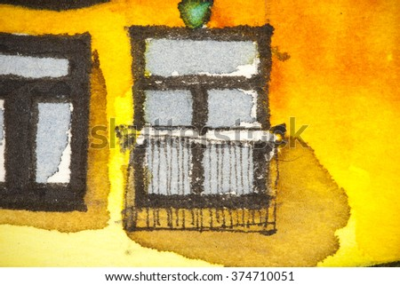 Watercolor artistic illustration of balcony railing as safety elevation element in front of a window, symbolizing artistic approach in elevation facade design  - stock photo
