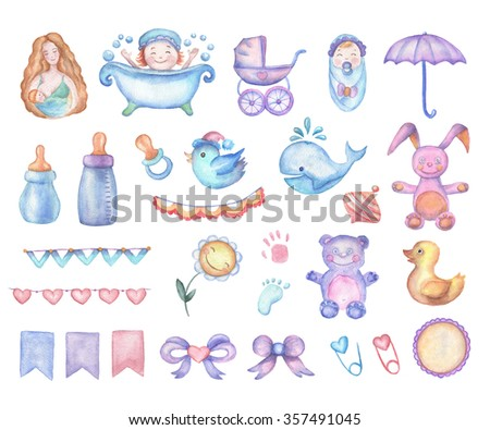Watercolor baby shower set of design elements in high resolution. Aquarelle cartoon style trendy illustrations for decor needs. Perfectly feet for greeting cards, prints, posters. Handmade drawings. - stock photo