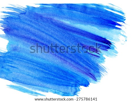 Watercolor Background Blue. Abstract art hand paint. - stock photo
