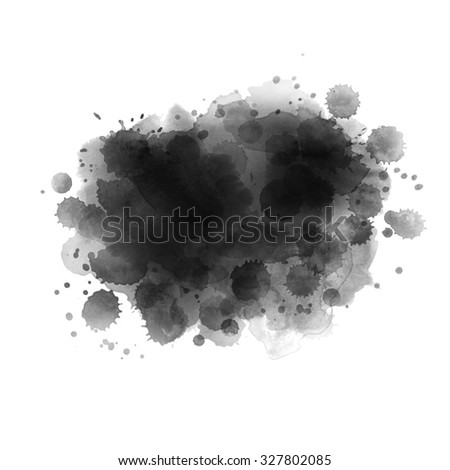 Watercolor background. Hand painted aquarelle splash. Abstract texture for card, poster, invitation. Creative design. Black and white texture. - stock photo