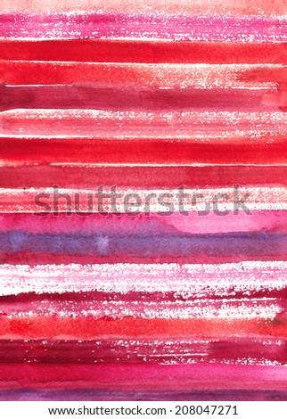 Watercolor background in red colors of Valentine's day - stock photo
