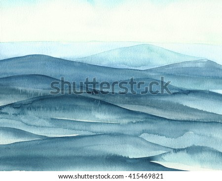 Watercolor Background of Blue Waves - stock photo