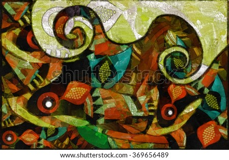 watercolor background of bright elements in ethnic style - stock photo