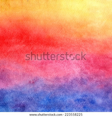 Watercolor background. Sunset. - stock photo