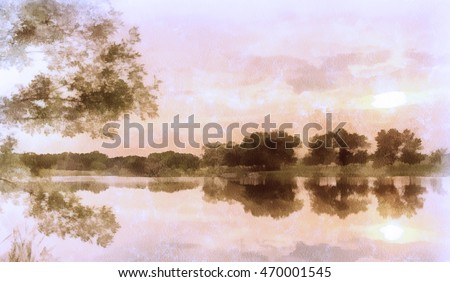 Watercolor background, sunset on a pond, pink. Beautiful summer landscape. The sky and trees are reflected in water. Silence and pacification.