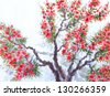Watercolor background. The bright red flowers and lush green foliage in spring blooming of an old tree - stock vector