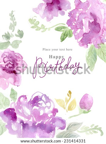Watercolor background with beautiful flowers, holiday congratulatory card, with sample text - stock photo