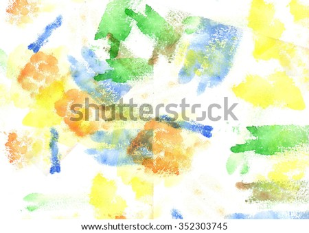 Watercolor background with colored stripes and spots