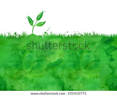 Watercolor background with growing sprout. - stock photo