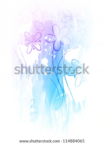 Watercolor background with hand drawn flowers