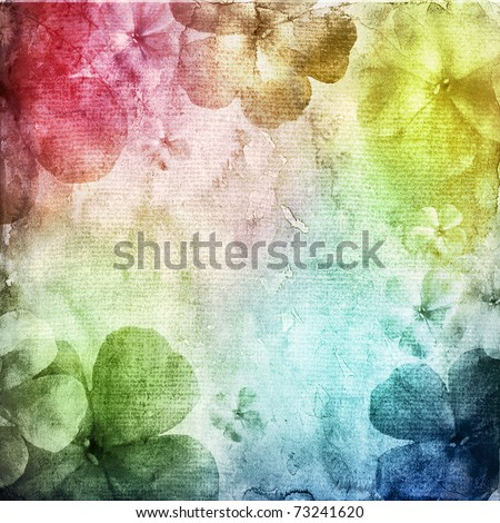 watercolor background with many flowers - stock photo