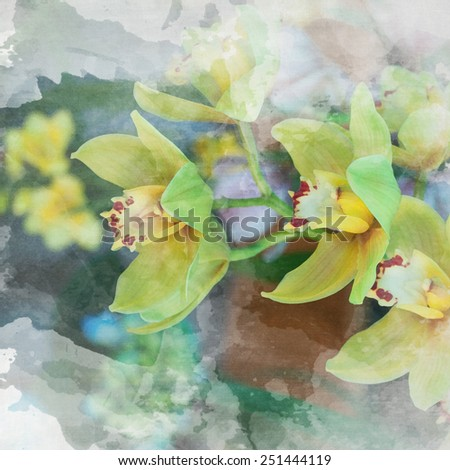 watercolor background with orchids - stock photo