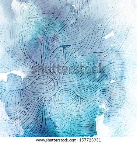 Watercolor background with ornament on paper texture - stock photo