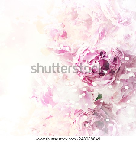 Watercolor background with spring flower - stock photo