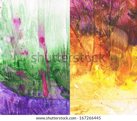 Watercolor background with texture. Paint blots, splatters, stain, blobs. Grunge paper template. Watercolor composition and backdrop for scrapbook elements. - stock photo