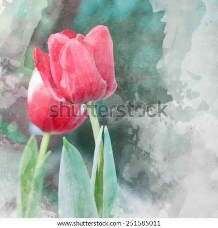 watercolor background with tulips - stock photo