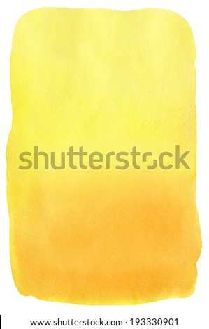 Watercolor background. Yellow to orange gradient - stock photo