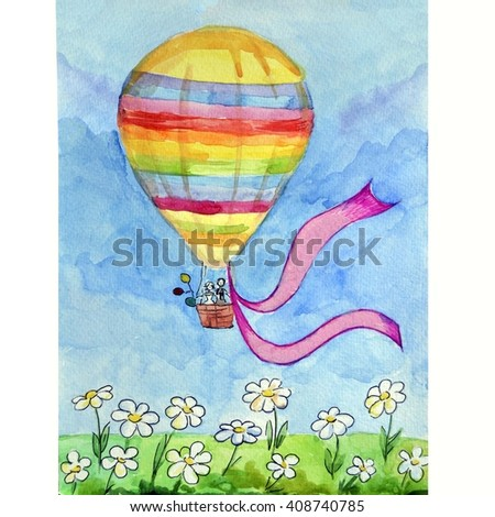 Watercolor balloon.