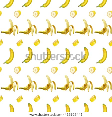 Watercolor banana pattern