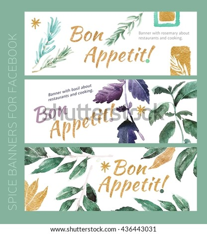 Watercolor banners with spice for cooking. Bon Appetite, kitchen, nationality kitchen of Italy, ingredients for salad, banner with rosemary, basil and leaf laurus. And gold leaves and pieces of spice.