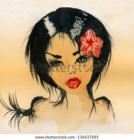 Watercolor beautiful, young girl's head. - stock photo