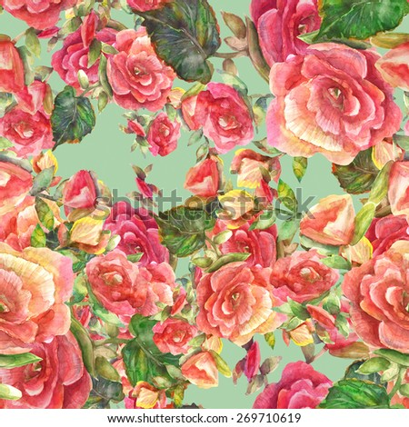 Watercolor Begonia floral  seamless pattern. - stock photo
