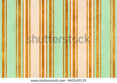 Watercolor beige, mint and golden striped background.