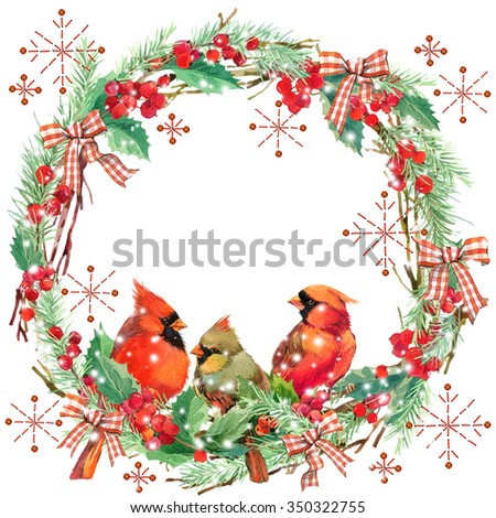 watercolor bird and Christmas wreath frame. watercolor winter holidays background. illustration bird, Christmas tree, mistletoe berry, snowflake holly branches. watercolor texture background - stock photo