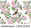 Watercolor bird and flowers - stock vector
