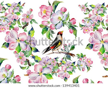 Watercolor bird and flowers - stock photo