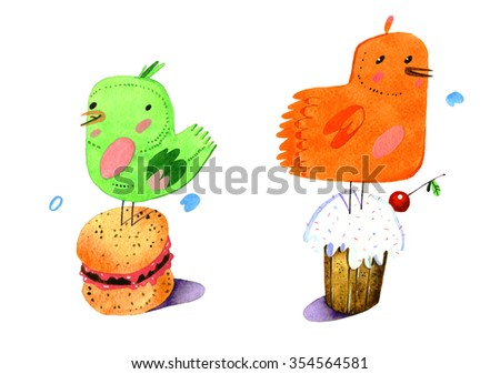 watercolor bird, cake, cartoon illustration isolated on white background