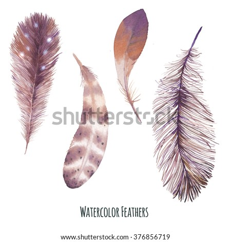 Watercolor bird feathers set. Hand painted boho chic style collection of brown feathers isolated on white background. Artistic design clip art - stock photo