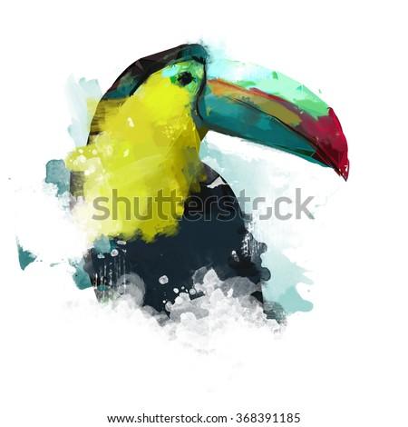 Watercolor bird, illustration Toucan - stock photo