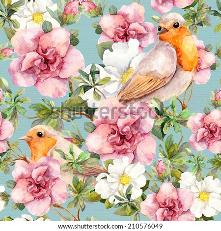 Watercolor birds and flowers . Seamless floral pattern. - stock photo