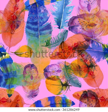 Watercolor birds feathers pattern. Seamless texture with hand drawn feathers.