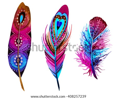 Watercolor birds feathers set. Hand painted artistic elements. - stock photo