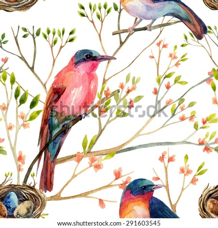 Watercolor birds on the blossoming trees. Hand painted seamless pattern - stock photo