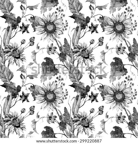 Watercolor Black And White Autumn Flowers Wallpaper Sunflower Corn Pumpkin Leaves Seamless Pattern
